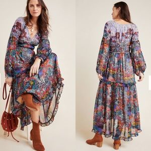 Anthropologie Maeve Annabella Printed Maxi Dress